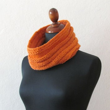 Chunky Cowl Ribbed  Tangerine  Unisex  Merino by theYarnKitchen