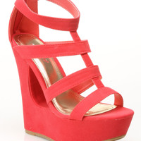 Society 86 Reveal-07 Platform Wedge Sandal in Coral - Beyond the Rack