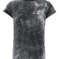 BLACK BURNOUT HIGH ROLL T-SHIRT - Plain T-shirts - TOPMAN