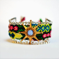 $63.00 friendship cuff bracelet rhinestones Sunburst by ColorblockShop