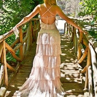 Pink Lace Bohemian Wedding Dress / Bridal Wedding Gown / Handmade by SuzannaM Designs