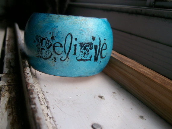 Direct From the Artist Believe Affirmation Handpainted Bangle by AugiebyCarrieJewelry
