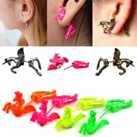 New Retro 1 Piece Rock Punk Cute Style Unicorn Horse Ear Stud Cuff Clip Earring
