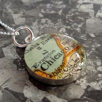 Map Necklace Sterling Silver Chicago by sherrytruitt on Etsy