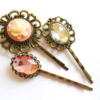 Cameo Rose and Rhinestone Vintage style Bobby Pin Set  bronze hair clips slides pink cream grips retro