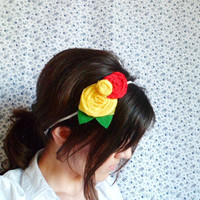 Double yellow and red rosette flower headband by NatbeesFashion