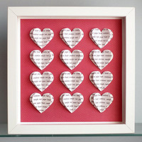 Personalised Heart Frame Gift / Custom 3D Hearts Song Lyric Wall Art / Wedding, Engagement, Anniversary
