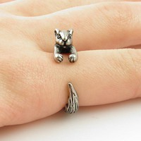Squirrel / Chipmunk Animal Wrap Ring - Silver