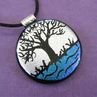 Dichroic Glass Pendant, Silver, Green, Tree Series - Silver Maple - 3720 - 0124