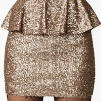 Peplum Sequin Skirt