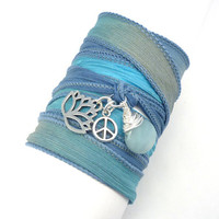 Silk Bracelet with Lotus Flower by charmeddesign1012