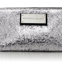Victoria's Secret Sparkly Sliver Cosmetic Makeup Bag Limited Edition