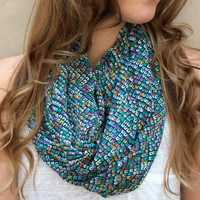 Spring Infinity Scarf, Circle Scarf, Eternity Scarf, Peach, Aqua, Forest Green, White