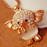 Rhinestone Crystal Opal Elephant Necklace