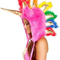 Amazon.com: Faux Fur Hot Pink Unicorn Hood - ONE SIZE: Clothing