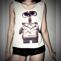 WALL-E Shirt Crop Top Tank Tops T-Shirt Women Sexy SideBoob Size S, M, L
