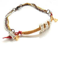 Stiletto Butternut Braided bracelet trio plated chain by Daniblu