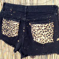 Vintage Lee Denim High Waisted Shorts animal print / by UnraveledClothing