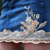 Lace Denim Skirts by LaceJeans on Etsy