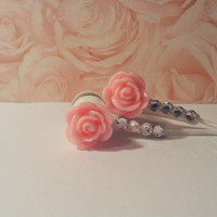 New Frosted Bubble Gum Pink Rose Earbuds with Swarovski Crystals