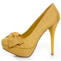Anne Michelle Dynamite 80 Mustard Thai Silk Knotty Bow Pumps