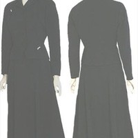 Black Vintage 1940s Gabardine Dress Suit Moordale Junior Suits