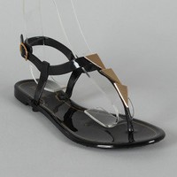 Bamboo Hawaii-22 Jelly Triangle Embellished T-Strap Flat Sandal