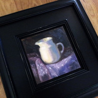 White Pitcher on Purple 6 x 6 Oil Painting by LittletonStudio