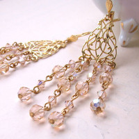 Peach pastel chandelier earrings with filigree and by shadowjewels