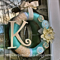 Spring Wreath/ Aqua, Beige / Yarn /Wall Decor /Summer Decor /Shabby chic /Custom Order