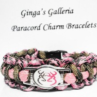 Green Camo Pink Browning Buck Cobra Paracord Bracelet