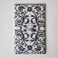 French Scroll Floral Navy &amp; Cream Outlet Plate, Wall Decor Plug Cover