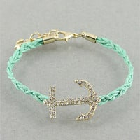 Mint Crystal Anchor Bracelet from p.s. I Love You More Boutique
