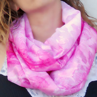 Spring infinity scarf, cowl, neck tie, summer fashion in pink