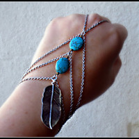 silver and turquoise feather slave bracelet by alapopjewelry