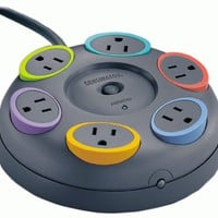 Kensington 62634 SmartSockets 6-Outlet 16 feet Cord Table Top Circular Color Coded Power Strip and Surge Protector