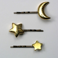 Celestial Hairpin Set - Moon and Stars Bobby Pins - Set of 3
