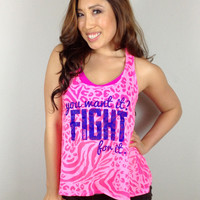 oGorgeous Gym Boutique - You Want it? FIGHT for it. Tank in Hot Pink