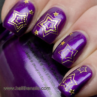 Gold Stars Nail Art Water Transfer Decal Prom Nails