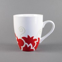 handpainted coffee mug - red