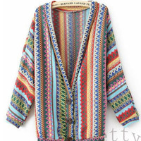 Women Boho Ethnic Rainbow Weave Stripe Knit V Neck Sweater Cardigan