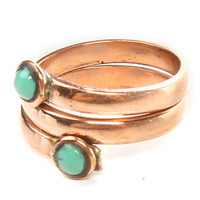 SunaharA Ring Turqoise Wrap Knuckle band in Copper