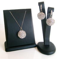 Rhinestone crystal wedding jewelry set 925 sterling silver cz stone detail click hook earwire and 925 sterling silver chain