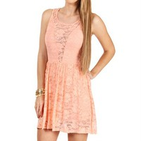 Peach Illusion Lace Dress