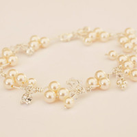 Pearl Bracelet Wedding Jewelry Cluster Bracelet Crystal Bridal Jewellery Bridesmaid Gift Ivory Pearls Charm