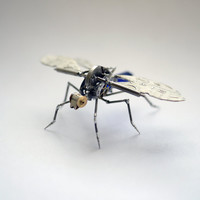 Mechanical Dragonfly Sculpture &quot;Popper&quot; Recycled Watch Parts Clockwork Arthropod Figurine Stems Lightbulb Arthropod Fly Gnat Gershenson