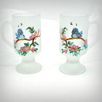 Hand Painted Bluebirds on Frosted Mugs by PaintedDesignsByLona