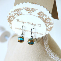 Vintage Style Glass Drop Earrings in Blue and by BoutiqueVintage72