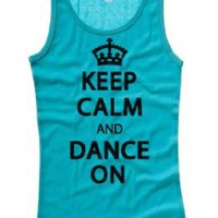 Amazon.com: Juniors Just Keep Calm And Dance On Tank: Clothing