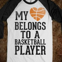 My Heart Belongs to a Basketball Player (Baseball Tee) - Sports Girl